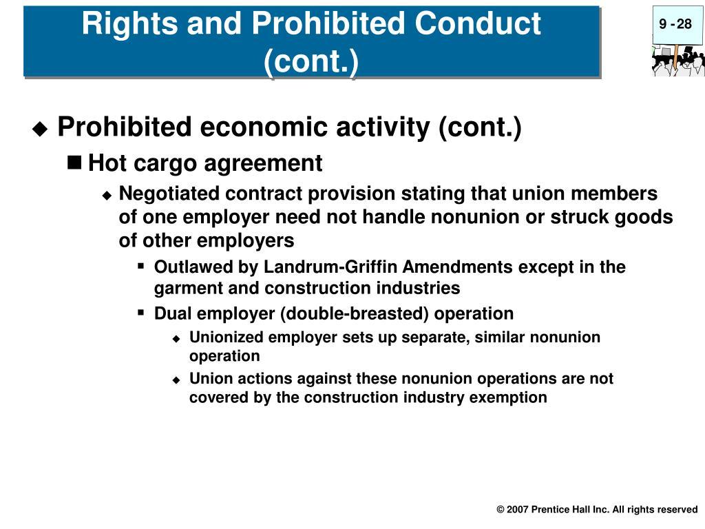 Prohibited economic activity (cont.)