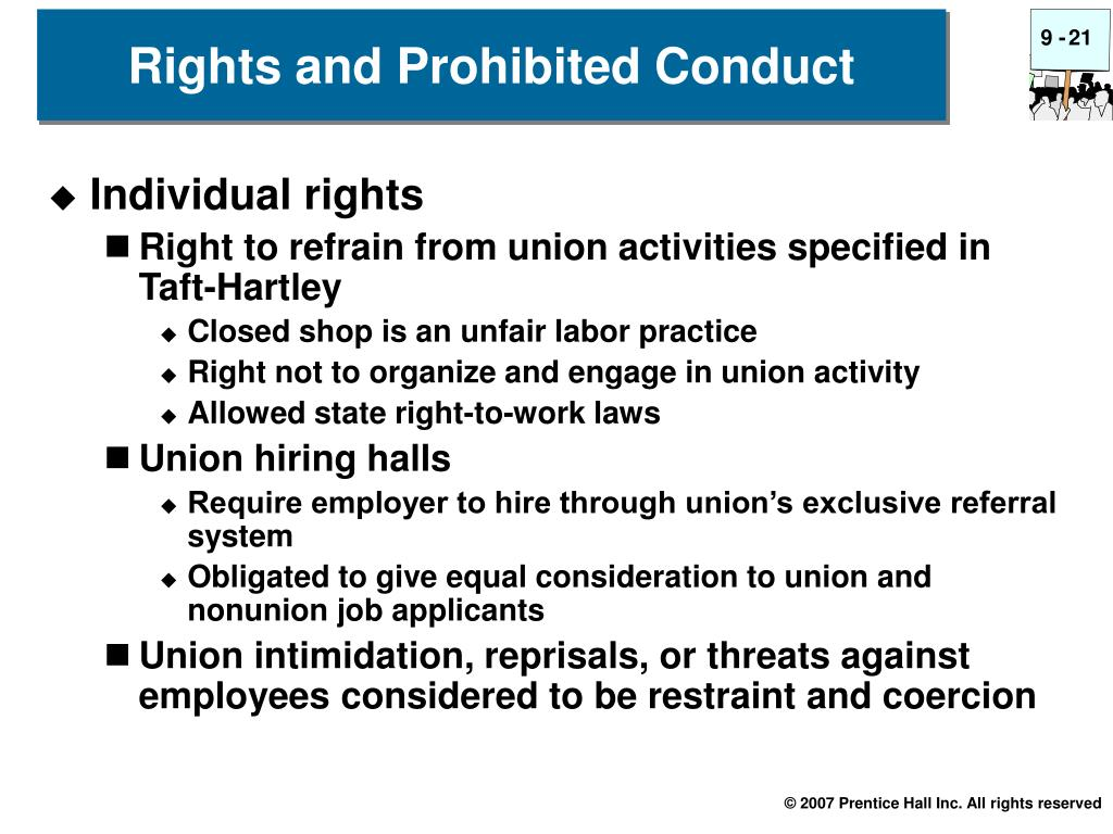 Rights and Prohibited Conduct