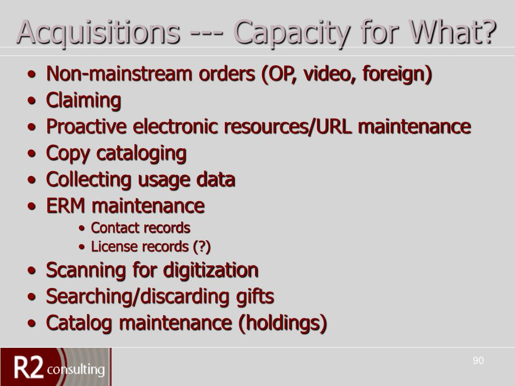 Acquisitions --- Capacity for What?