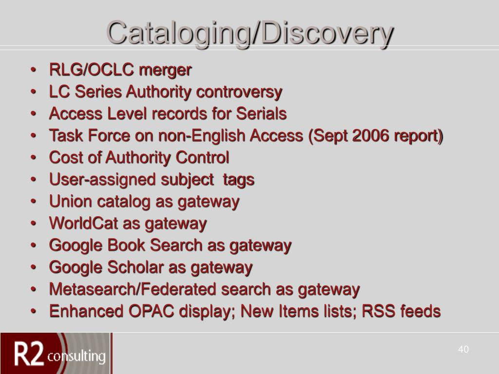 Cataloging/Discovery