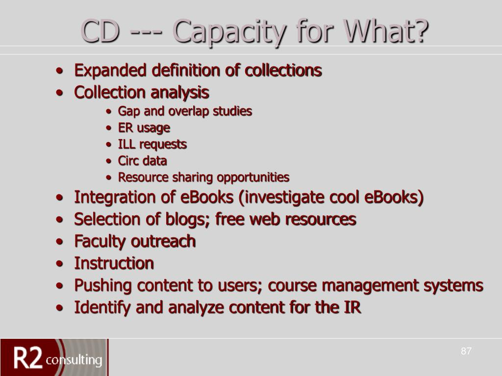CD --- Capacity for What?