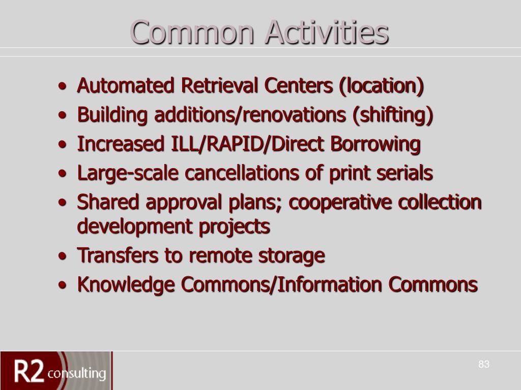 Common Activities