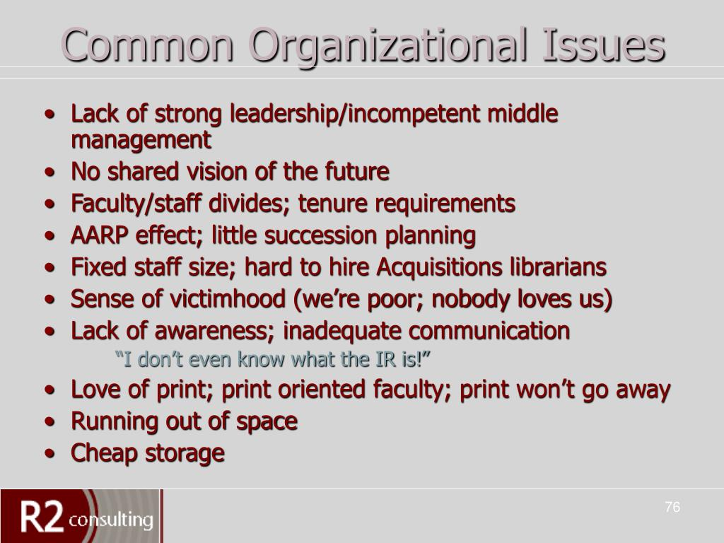 Common Organizational Issues