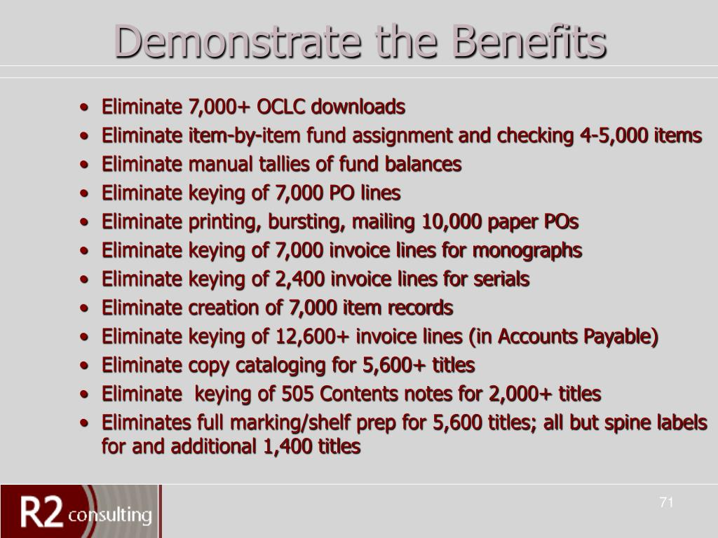 Demonstrate the Benefits