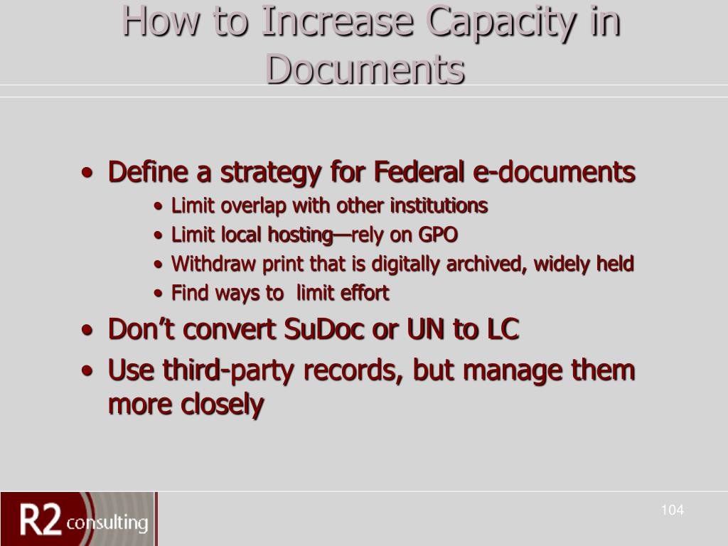 How to Increase Capacity in Documents