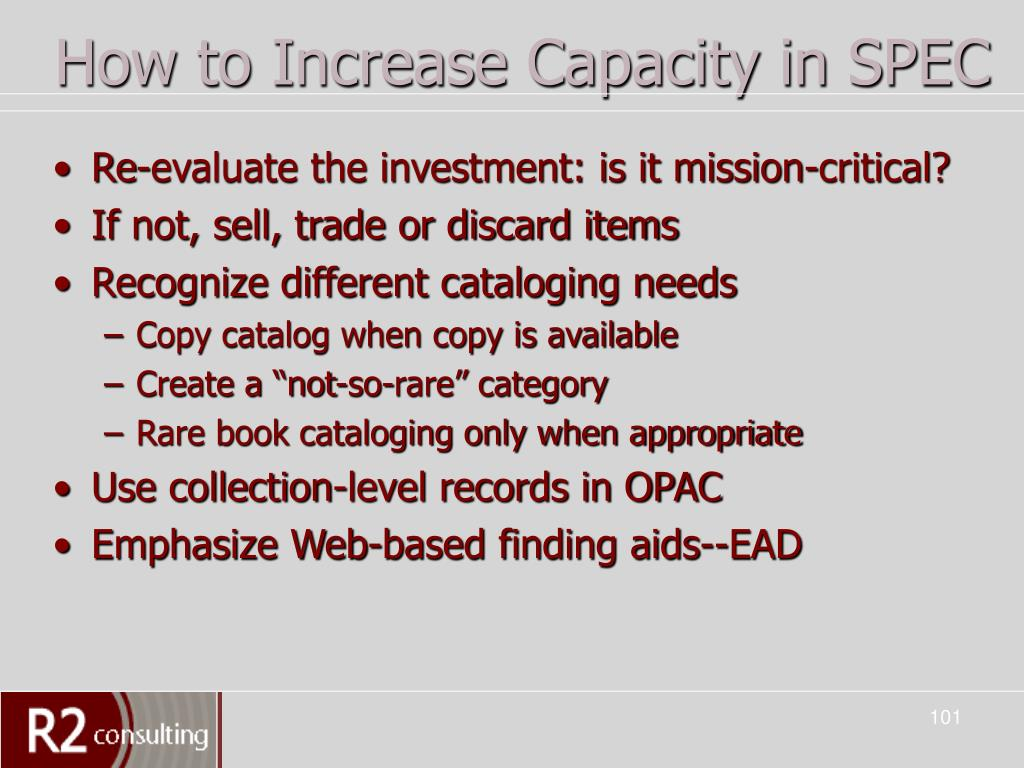 How to Increase Capacity in SPEC