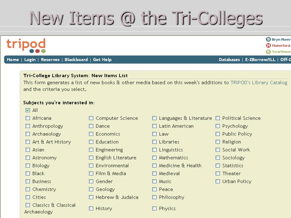 New Items @ the Tri-Colleges
