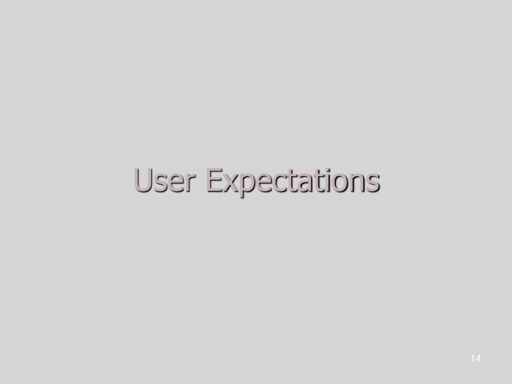 User Expectations