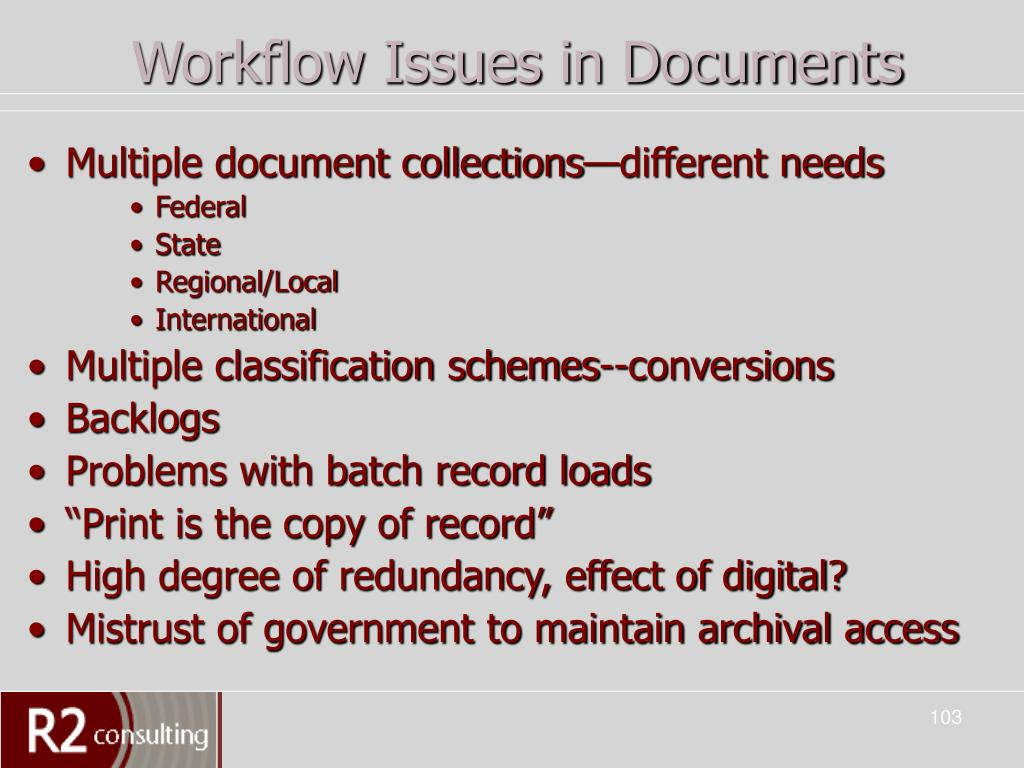 Workflow Issues in Documents