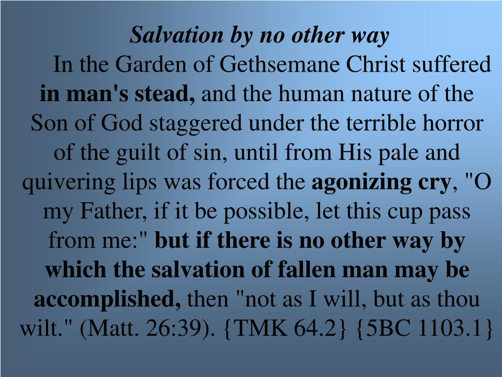 Salvation by no other way