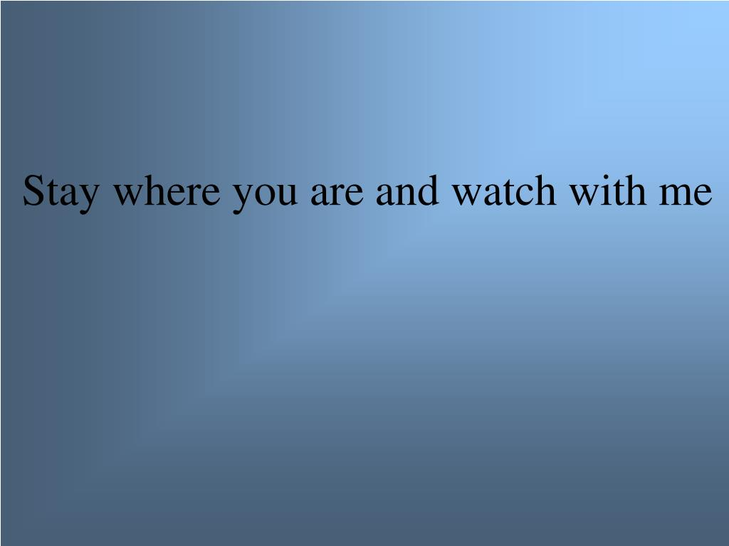 Stay where you are and watch with me