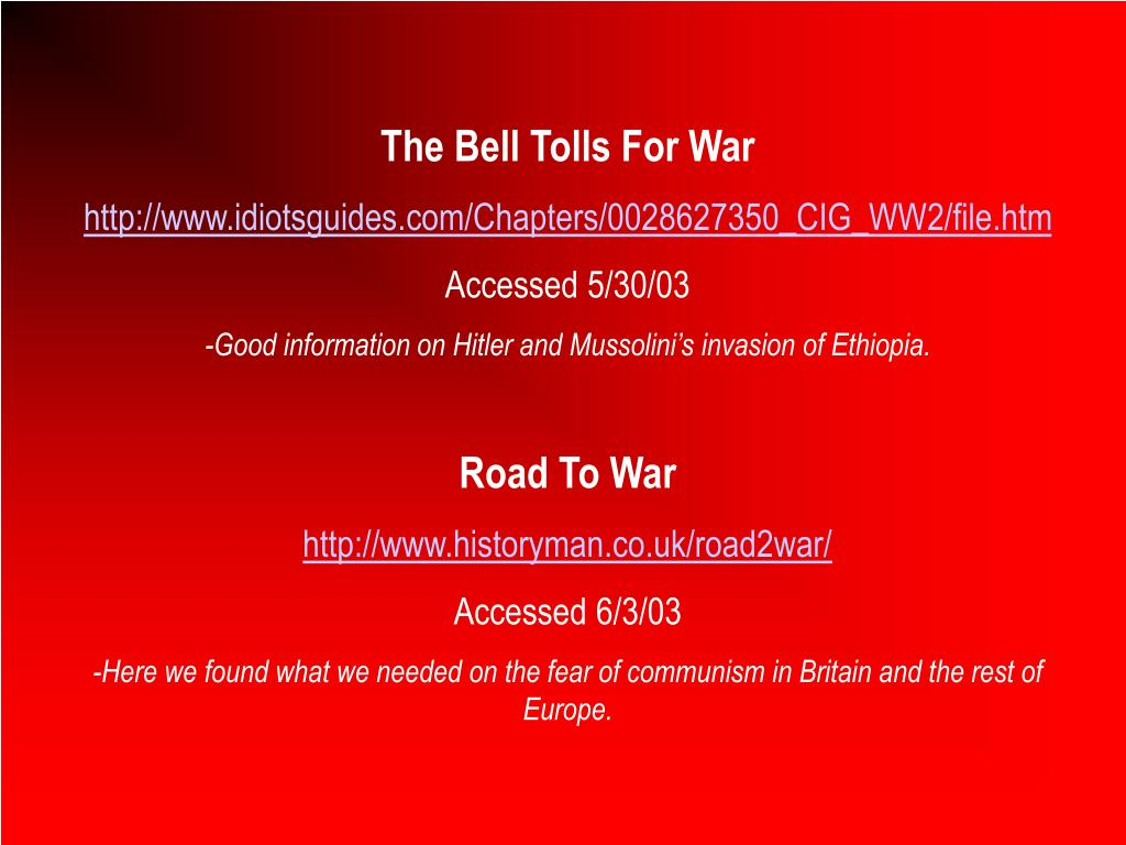 The Bell Tolls For War