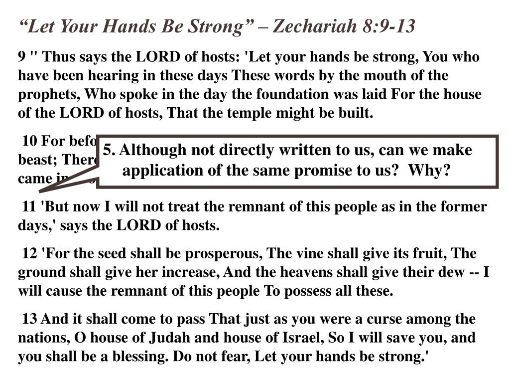 """Let Your Hands Be Strong"" – Zechariah 8:9-13"