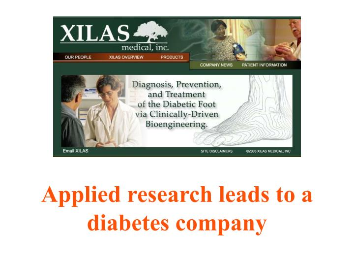 Applied research leads to a diabetes company