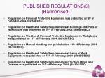 published regulations 3 harmonised