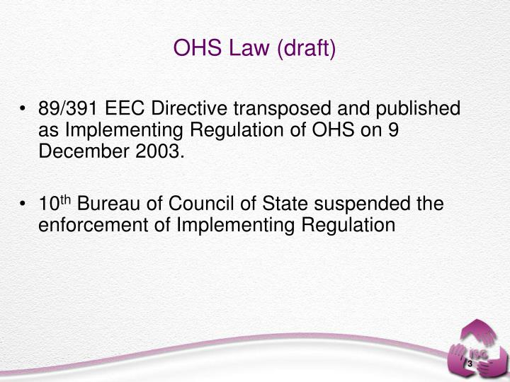 89/391 EEC Directive transposed and published as Implementing Regulation of OHS on 9 December 2003.