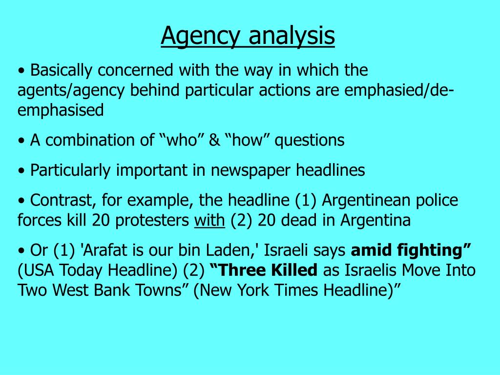 Agency analysis