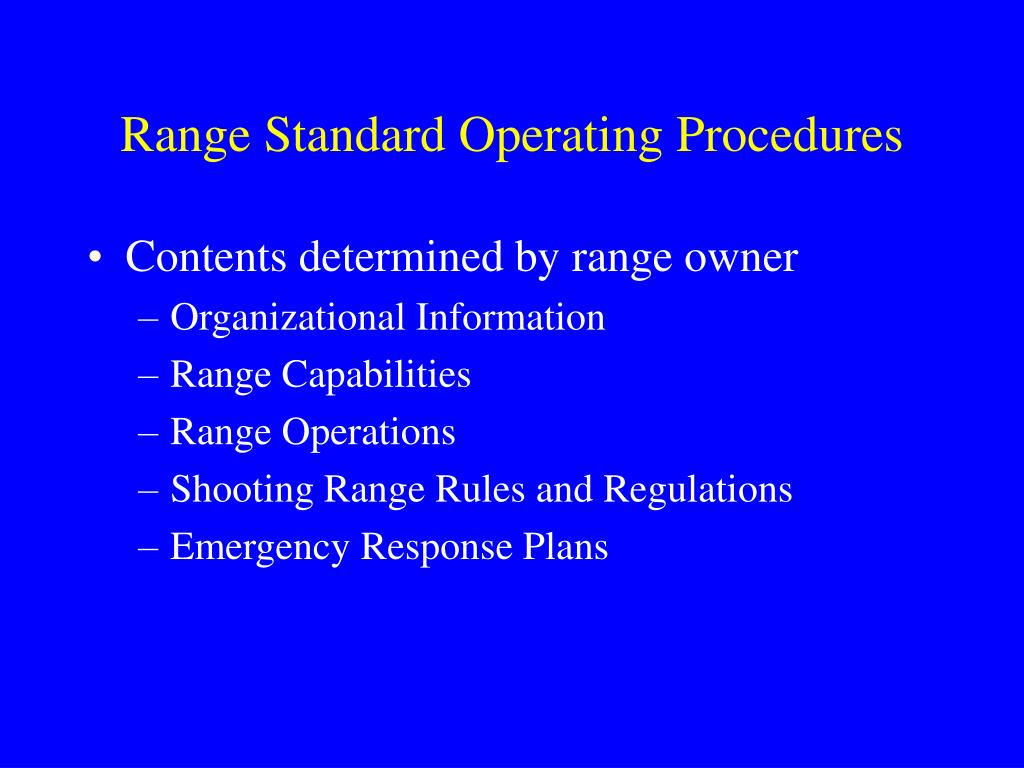 Range Standard Operating Procedures
