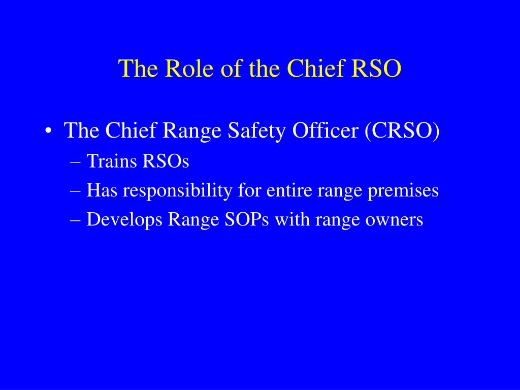 The Role of the Chief RSO