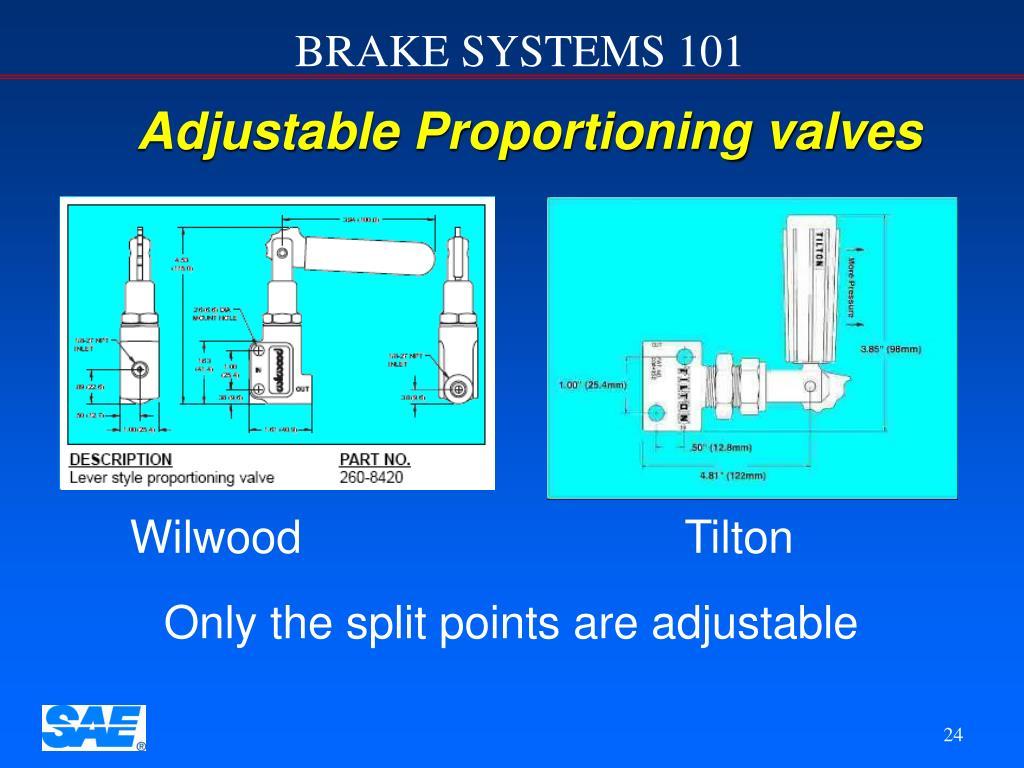 Adjustable Proportioning valves