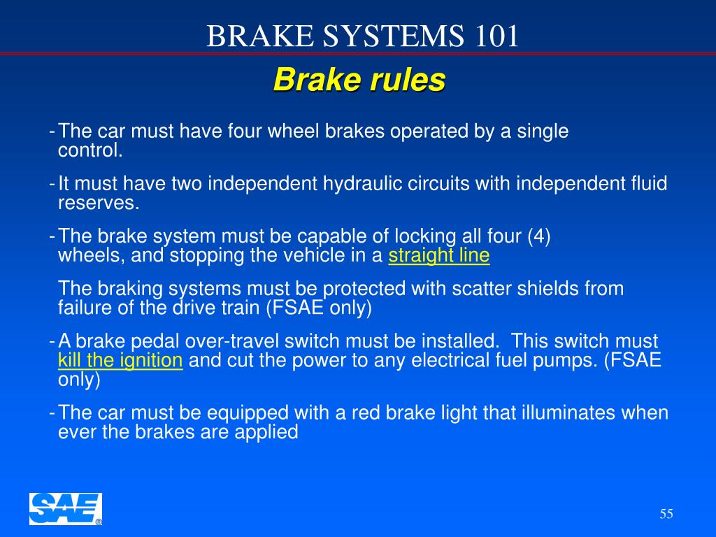 Brake rules