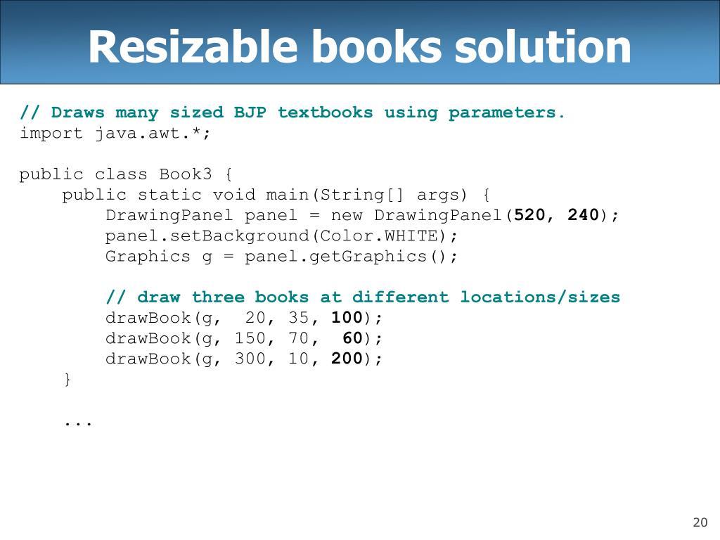 Resizable books solution