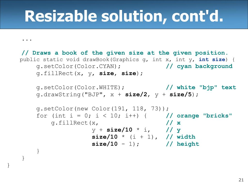 Resizable solution, cont'd.