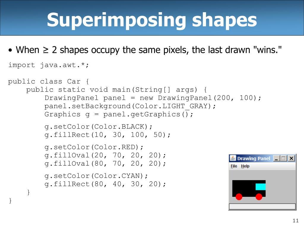Superimposing shapes