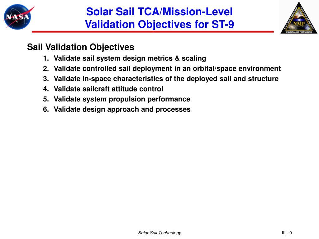 Solar Sail TCA/Mission-Level