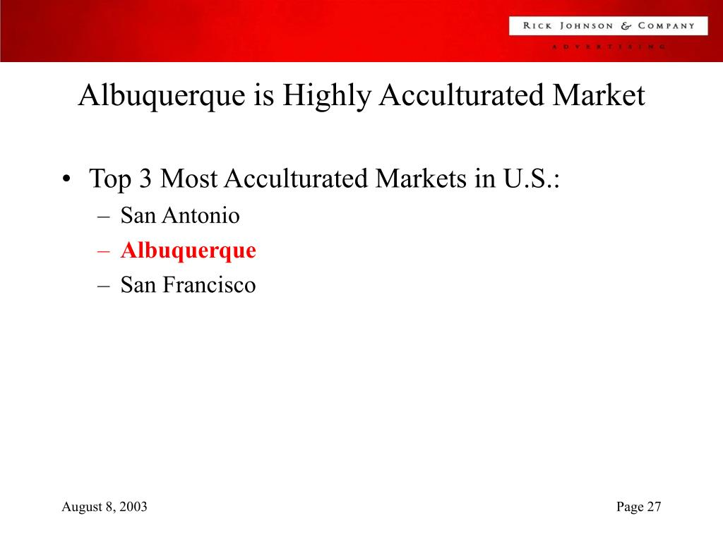 Albuquerque is Highly Acculturated Market