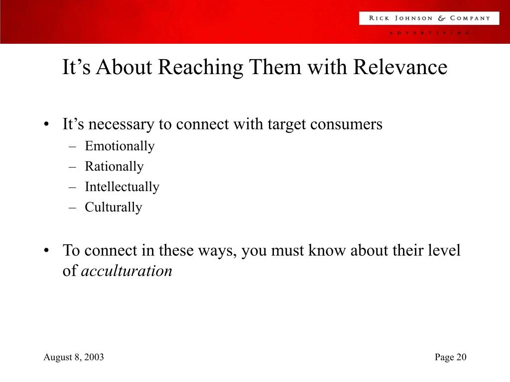 It's About Reaching Them with Relevance