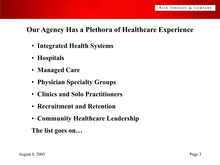 Our Agency Has a Plethora of Healthcare Experience