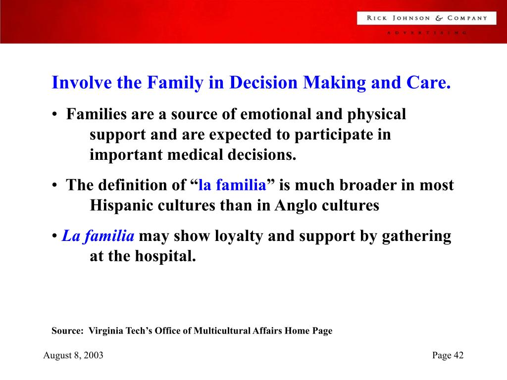 Involve the Family in Decision Making and Care.