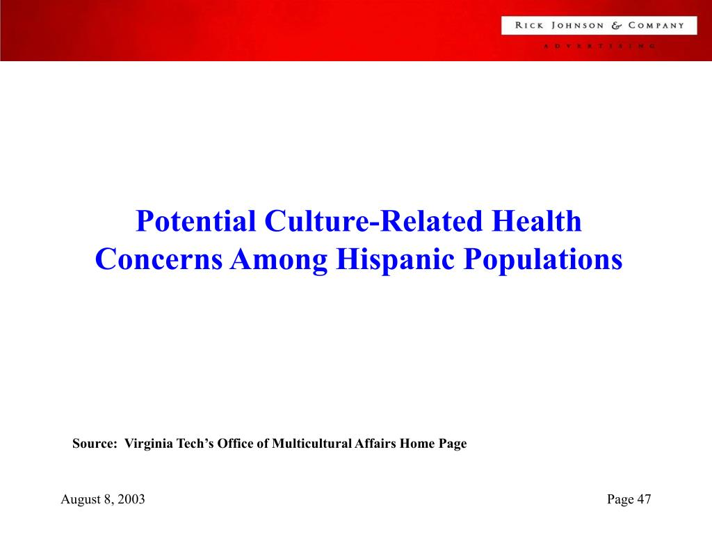 Potential Culture-Related Health Concerns Among Hispanic Populations