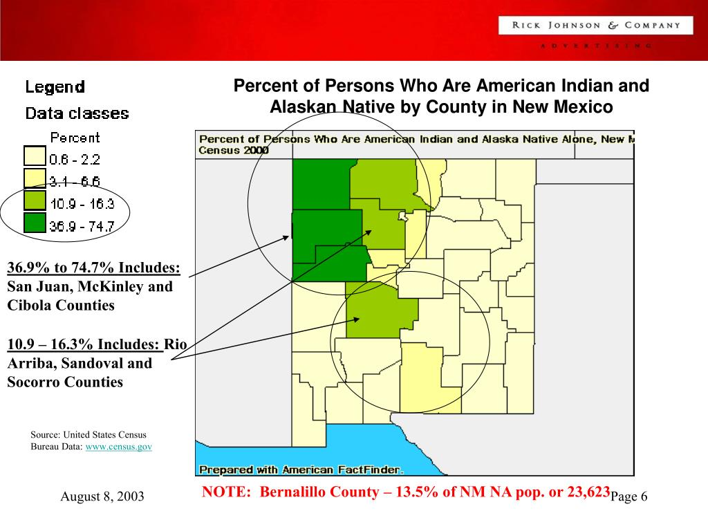 Percent of Persons Who Are American Indian and Alaskan Native by County in New Mexico