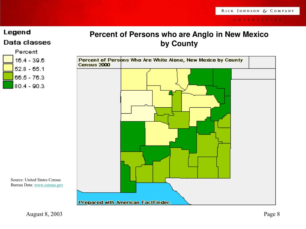 Percent of Persons who are Anglo in New Mexico by County