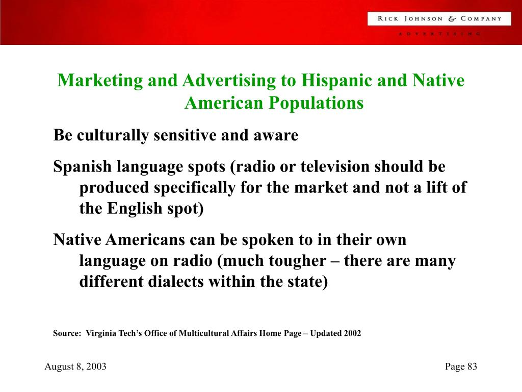 Marketing and Advertising to Hispanic and Native American Populations