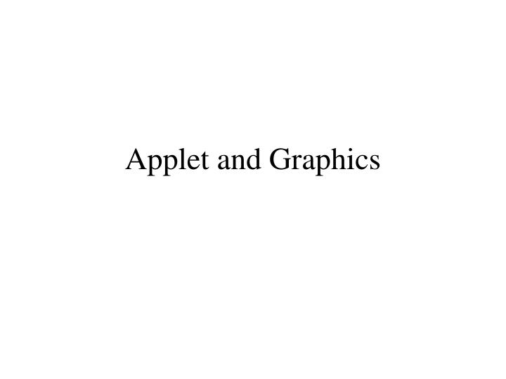 Applet and graphics