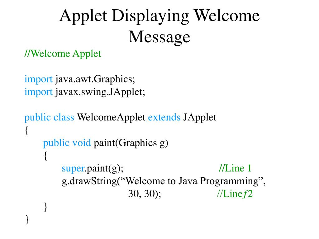 Applet Displaying Welcome Message