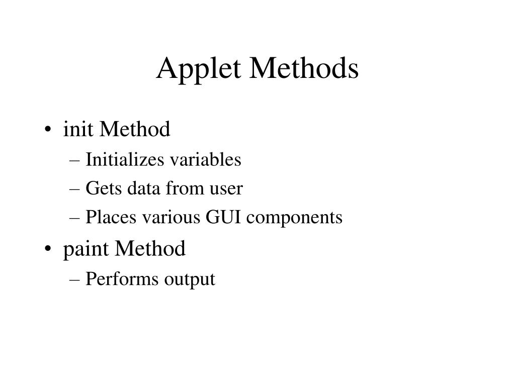 Applet Methods