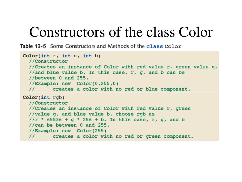 Constructors of the class Color