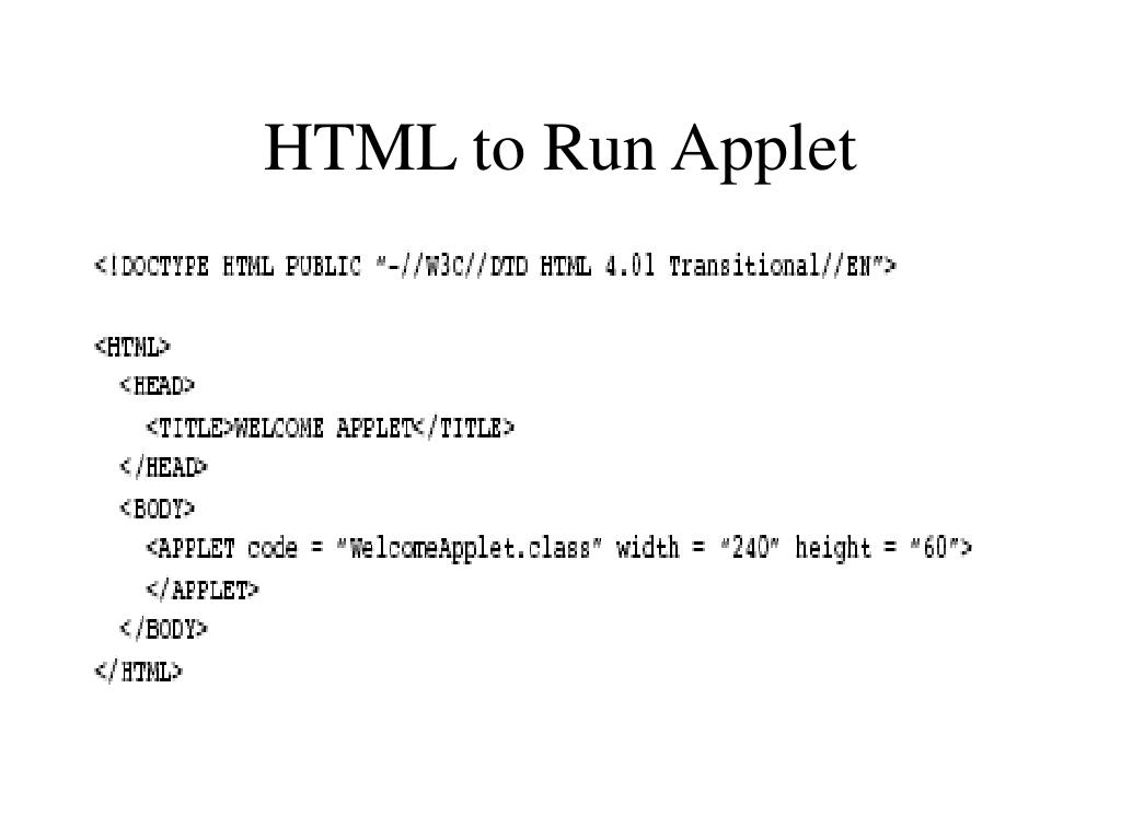 HTML to Run Applet