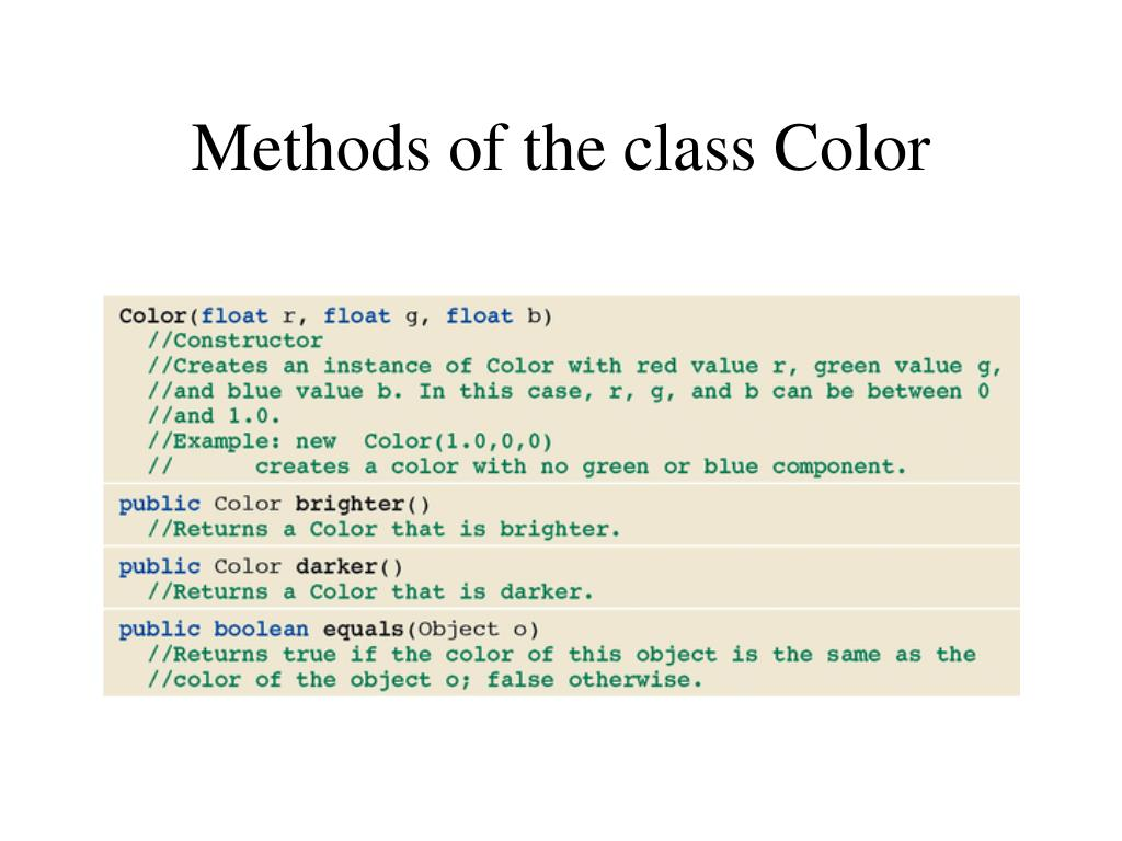 Methods of the class Color