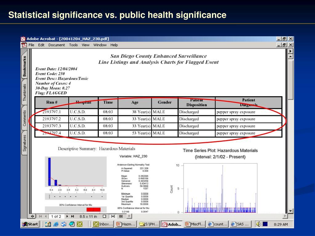 Statistical significance vs. public health significance