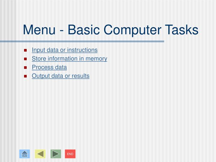 Menu basic computer tasks