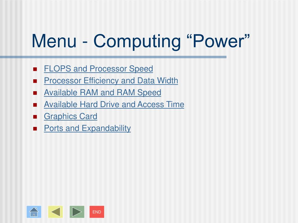 "Menu - Computing ""Power"""
