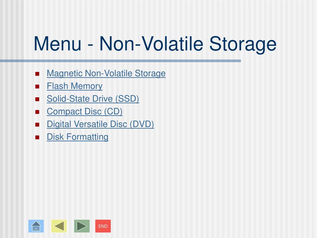 Menu - Non-Volatile Storage