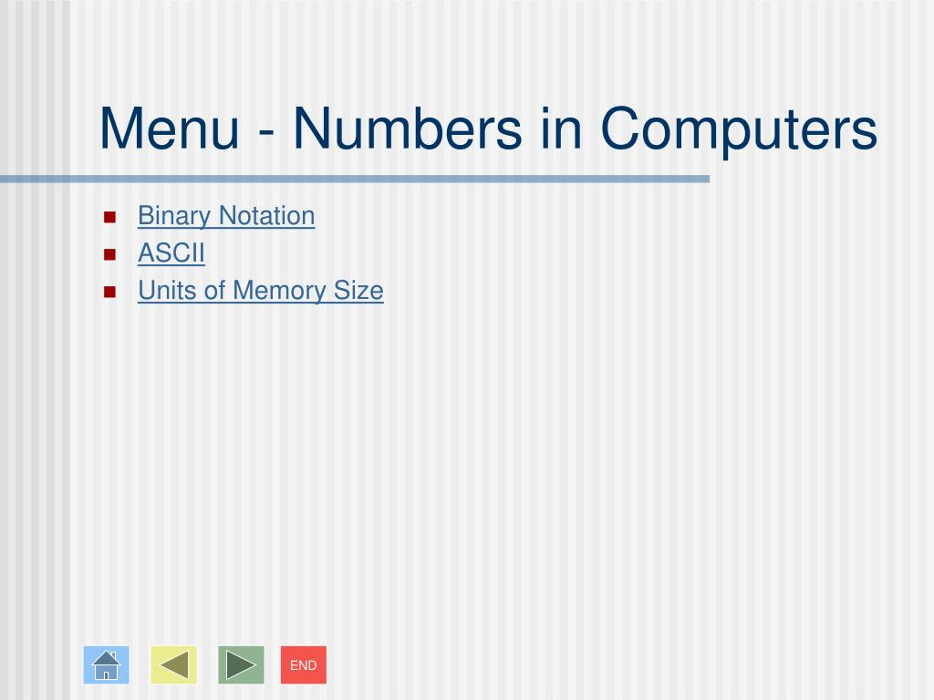 Menu - Numbers in Computers