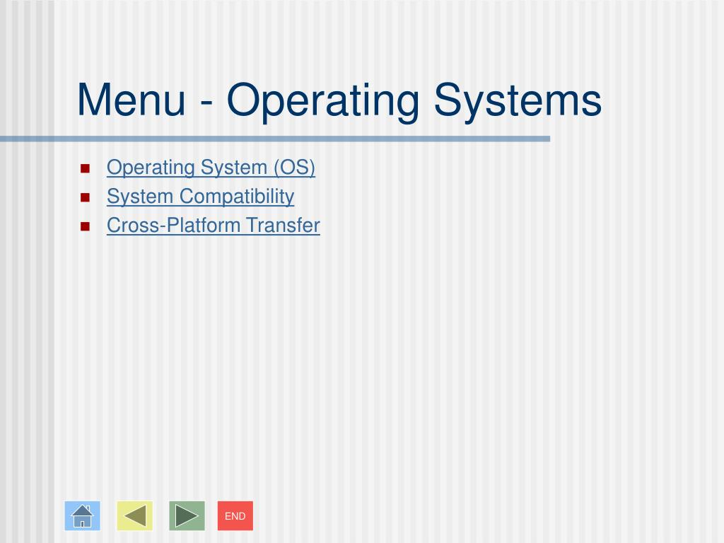 Menu - Operating Systems