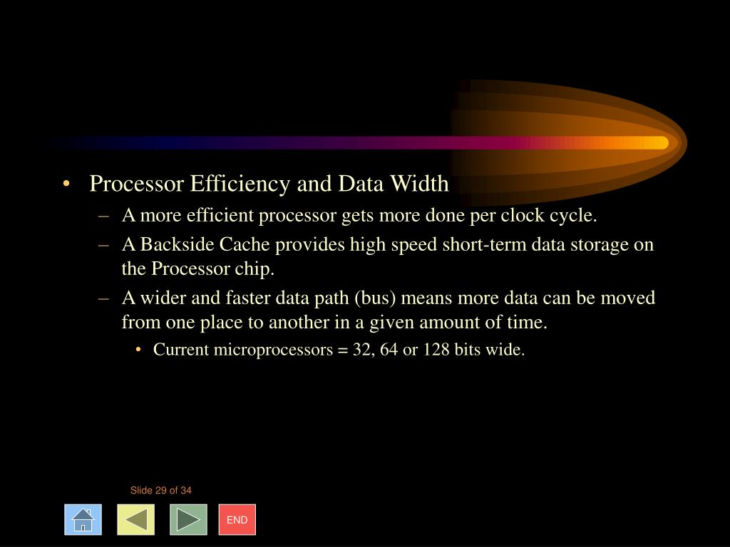 Processor Efficiency and Data Width